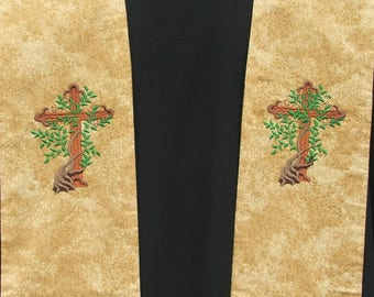 Clergy Stole, Vestment, Tree of LIfe Cross design MADE TO ORDER