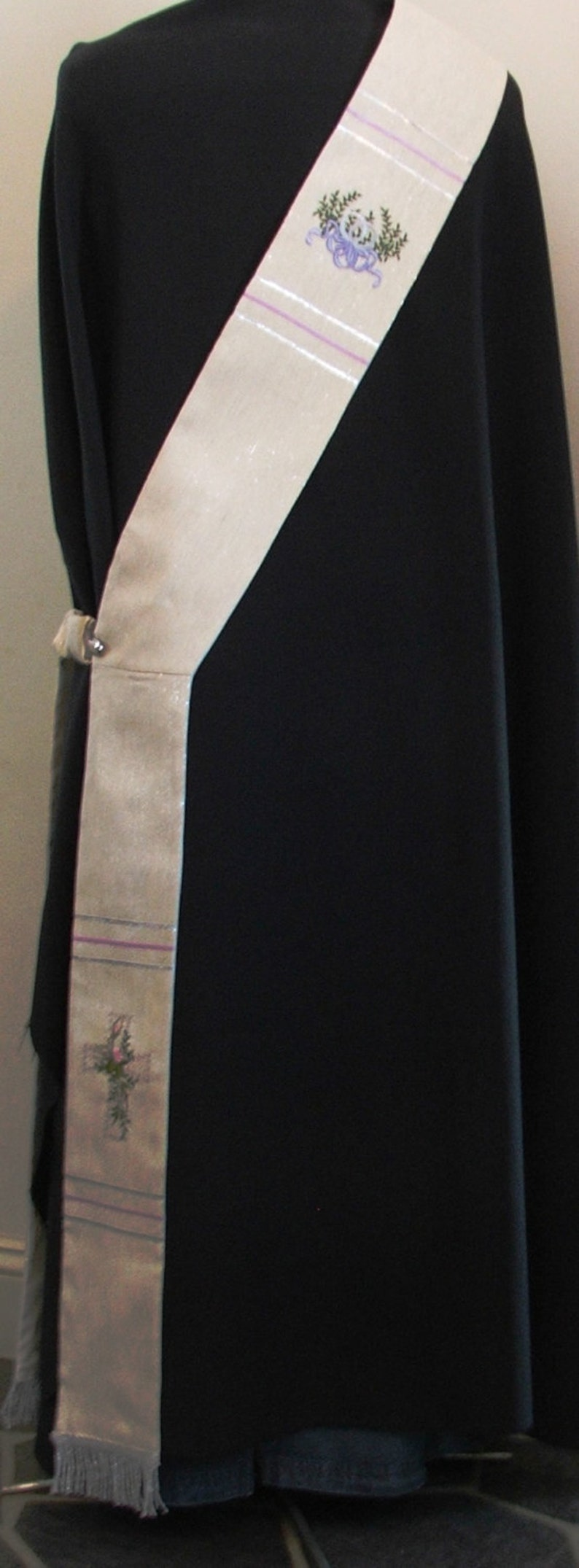 Deacon's stole, vestment, White, wedding, MADE to ORDER