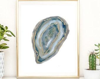 agate art, agate slice, agate slice art, mineral art, abstract agate, contemporary art, modern art, minimalist art, blue, gold, home decor