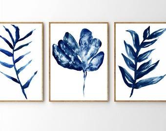 blue botanical, blue leaf print, blue watercolor leaf, leaf art, plant art, Monstera Print, Monstera Wall Art, Monstera Leaf Art, botanical