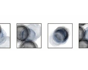 blue art, art print set, poster print set, picture sets, set of 4, art set, set of 4 prints, Abstract, organic art, sepia, sketch, textured