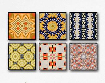 Mod art set, geometric art, Art set, print set, set of 6, set of 6 prints, 6 prints, wall art set, retro art, office art, family room, art