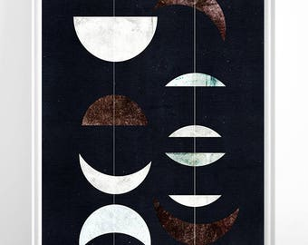 Moon Print, Moon Poster, Moon Art Moon Wall Art, Giant Moon Poster, Luna Moon Art Print, Galaxy, mid century moon print, modern mid century