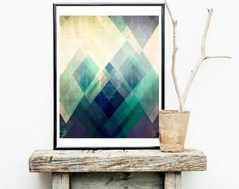 contemporary art print, modern art print, abstract art print, geometric art print, teal art, crystal art, scandinavian design, blue art