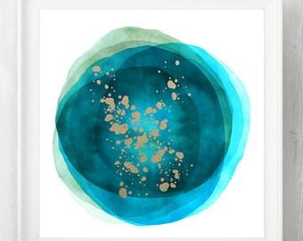 watercolor art, watercolor abstract, fluid painting, blue art, modern mid century, geometric art, modern painting, abstract, abstract art