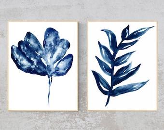 Blue Botanical Art, Blueprints, blue art, plant art, art set, set of 2 prints, poster prints, Blue Leaf, Monstera, Watercolor botanical