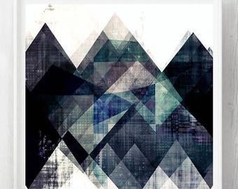 Scandinavian print, Scandinavian poster art, blue art, Scandinavian poster print, Modern poster print, geometric poster, wall decor, decor