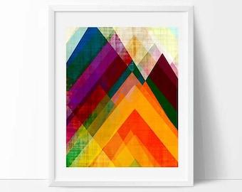 8 x 10 print, mountain abstract, geometric print, bright colors, geometric design, modern painting, mid century art, abstract art, modern