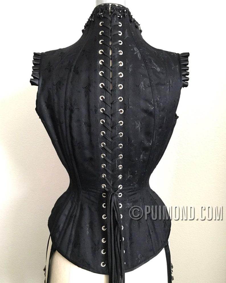99da8e077 PUIMOND Black Coutil Brocade PY17 CORSET TOP Size 20 In-Stock