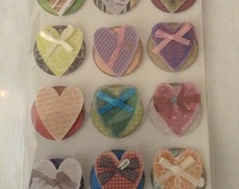 24 Pcs Hearts or Flowers  Dimensional Layered Stickers Decorative 3D Embellishments Crafts Scrapbooking