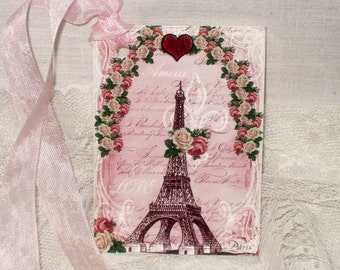 Gift Tag,  Vintage French Market Style Love Eiffel Tower Original Design MAVal007 ECS
