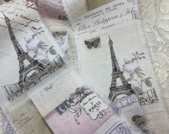 Eiffel Tower Ribbon Trim, French Inspired Ribbon, French Script Trim, Distressed Ribbon, French Country Trim, Vintage Inspired Ribbon, ECS
