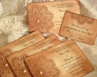 Lace Wedding Invitations, Vintage Inspired Hand Distressed French Market Elegant Complete Set
