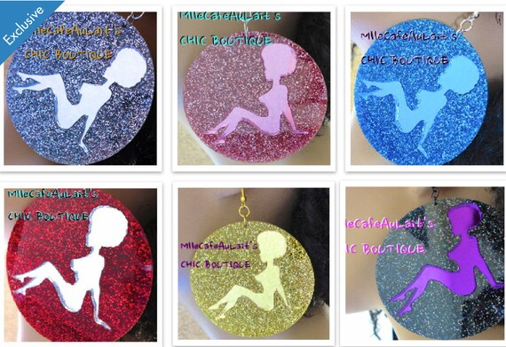EXCLUSIVE Mirror Laser Cut  Acrylic Earrings TEAMNATURAL Natural /& Proud Afro Pic