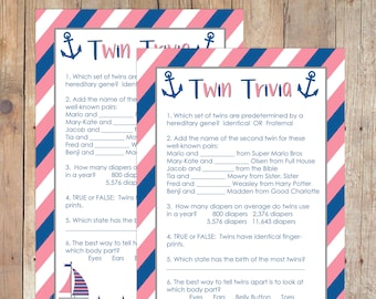 INSTANT DOWNLOAD Nautical Twin Trivia Baby Shower Game for Girl Twins or Girl Boy Twins in Navy and Coral
