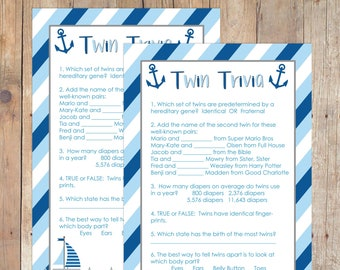 INSTANT DOWNLOAD Nautical Twin Trivia Baby Shower Game for Boy Twins Navy Baby Blue