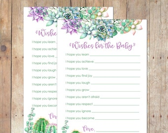 INSTANT DOWNLOAD Succulents Wishes for the Baby Baby Shower Game for Boy or Girl in Green and Purple