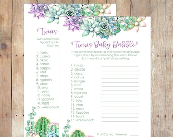 INSTANT DOWNLOAD Twins Baby Babble Baby Shower Game for Boy or Girl Twins in Green and Purple