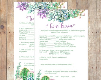 INSTANT DOWNLOAD Succulents Twin Trivia Baby Shower Game for Any Gender Twins in Green and Purple