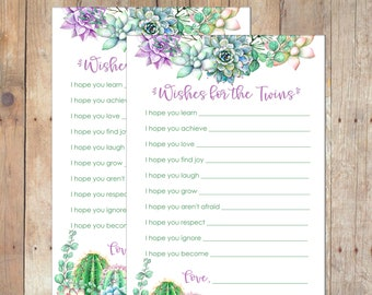 INSTANT DOWNLOAD Succulents Wishes for Twins Baby Shower Game for Boy or Girl Twins in Green and Purple