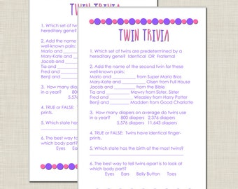 INSTANT DOWNLOAD Twin Trivia Baby Shower Game for Girl Twins in Purple and Pink