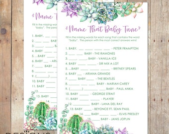 INSTANT DOWNLOAD Name That Baby Tune Succulents Theme Baby Shower Game Girl or Boy in Green and Purple