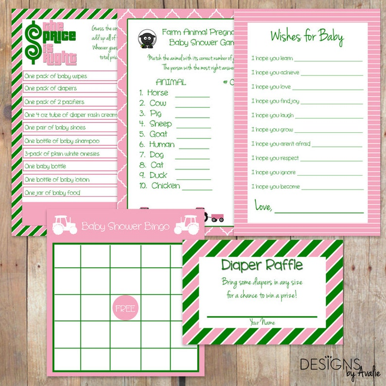 INSTANT DOWNLOAD Green and Pink Baby Girl Shower Games Party Pack Bundle 5 Games for the Price of 4!