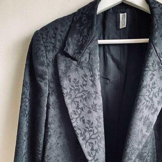 Vintage black jacquard blazer floral print small m