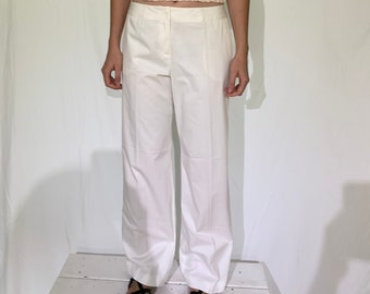 White cotton wide-leg chinos pants/ relaxed fit pants / medium rise / 33 w / us 10