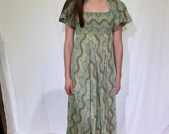 PAISLEY maxi dress / flutter sleeve dress / empire waist / s - m
