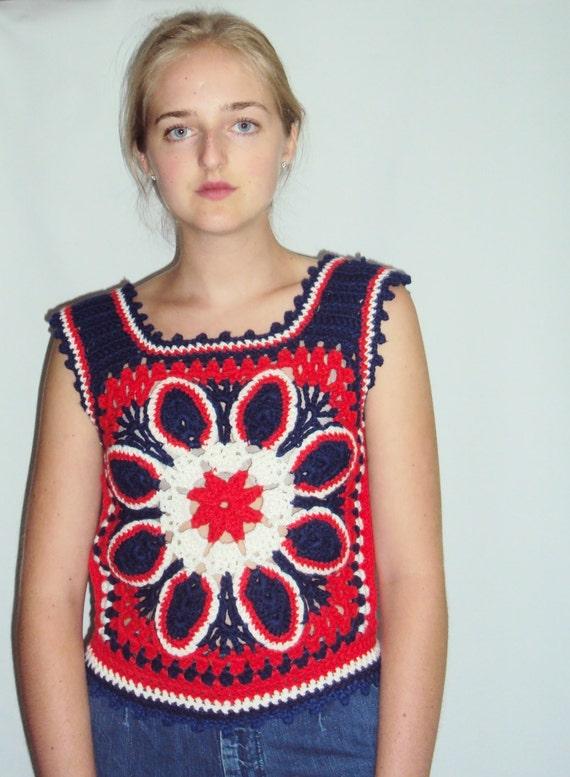 70s Crochet sweater VEST Red, White, Blue S - image 3