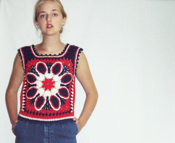 70s Crochet sweater VEST Red, White, Blue S - image 2