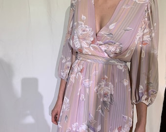 80s pink floral dress with balloon sleeves / M