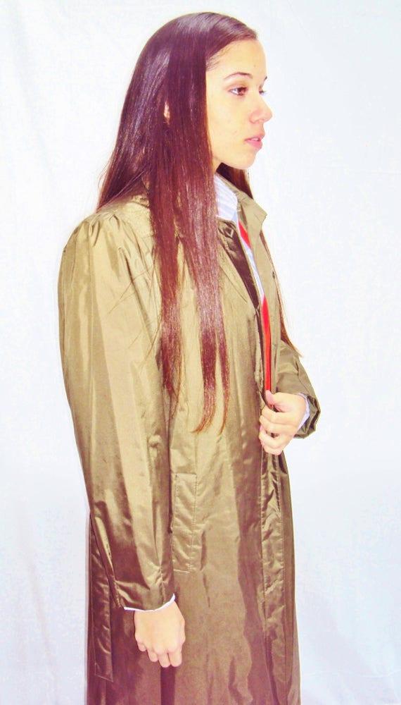 70s olive trench coat / puff sleeves / minimalist… - image 5