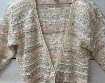 hand knit MOHAIR novelty knit CARDIGAN sweater / mohair wool sweater / s - l