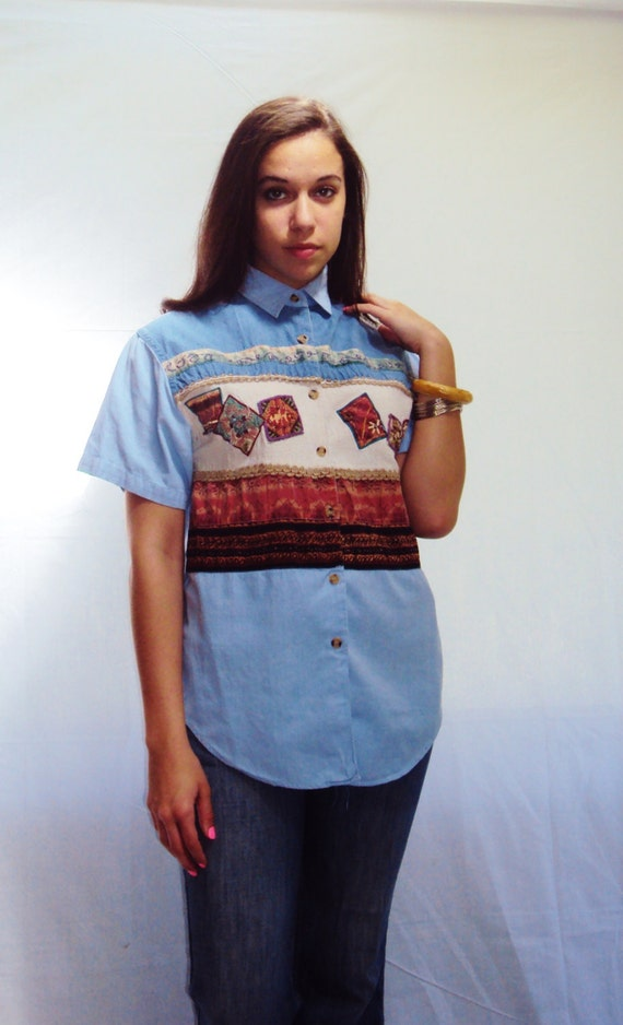 Chambray PATCHWORK Denim Shirt, Patchwork print,  Boxy top, Short Sleeve, Buttondown shirt, vintage 90s,  FRINGE Beaded, patches, small, med