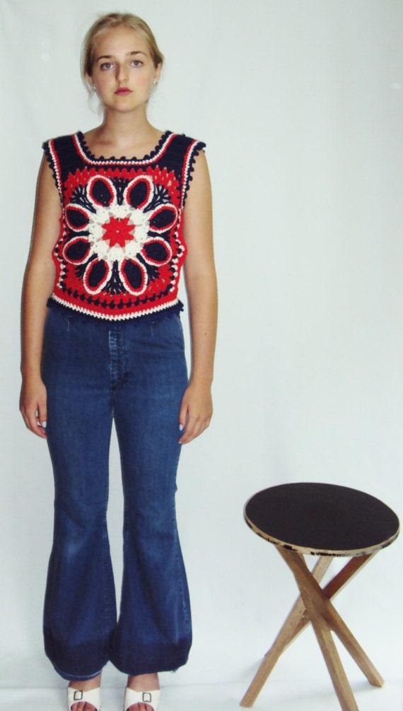 70s Crochet sweater VEST Red, White, Blue S - image 5