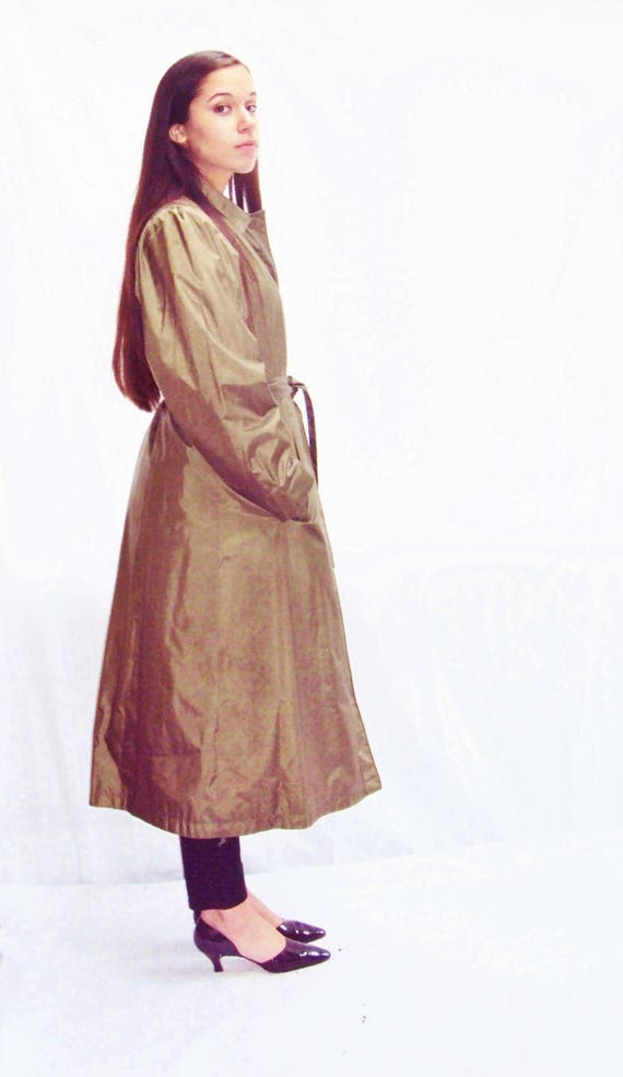 70s olive trench coat / puff sleeves / minimalist… - image 1