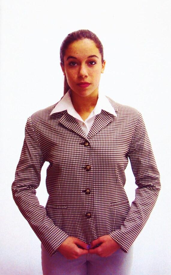 Cropped Blazer / boxy shape /  brown + white / s / m / Karen Kane label