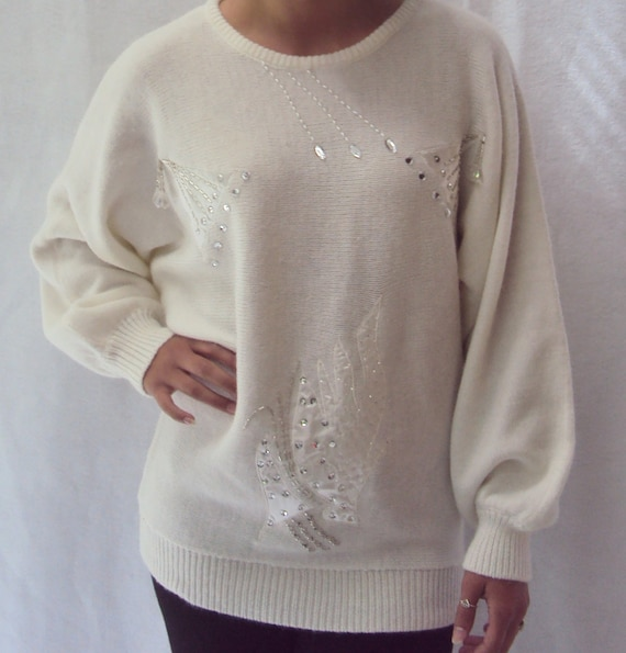puff sleeve sweater / white sweater / delicate crystals / s, m