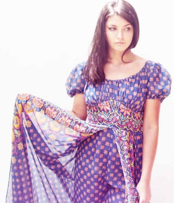 ADINI Cotton Gauze Dress /  Indian cotton dress /  Hippie Jumpsuit Harem Pants /  XS