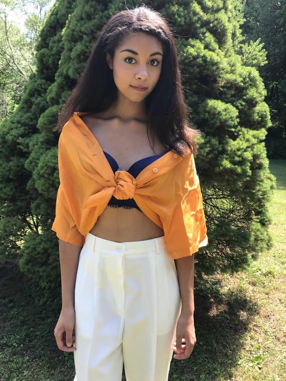 yellow silk blouse / short sleeve silk shirt / s - l