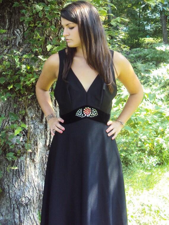 vintage boho dress / black maxi dress /  Stevie Ni