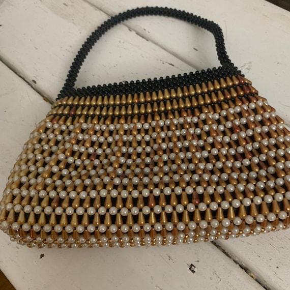1950s BEADED Tiny Purse / Top handle purse