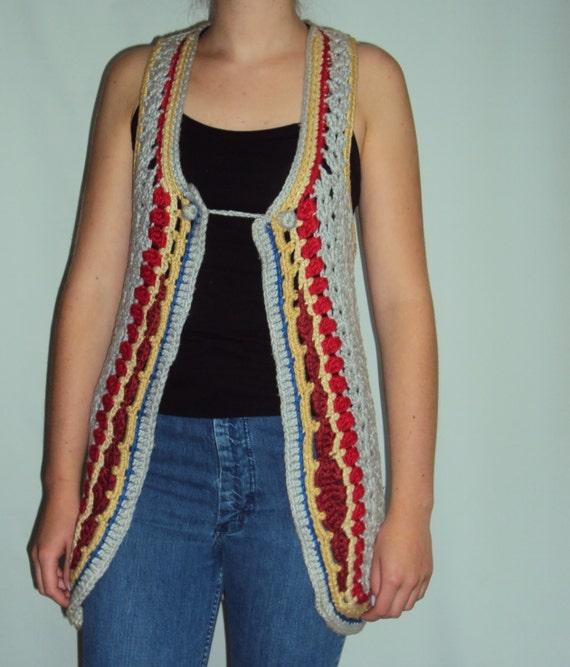 70s Crochet Sweater Vest  small, medium - image 1