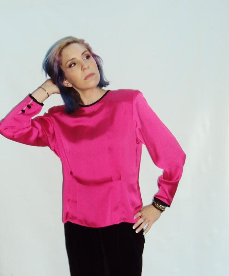 868b99464 FUSCHIA pink satin Blouse / button back / m / l | Etsy