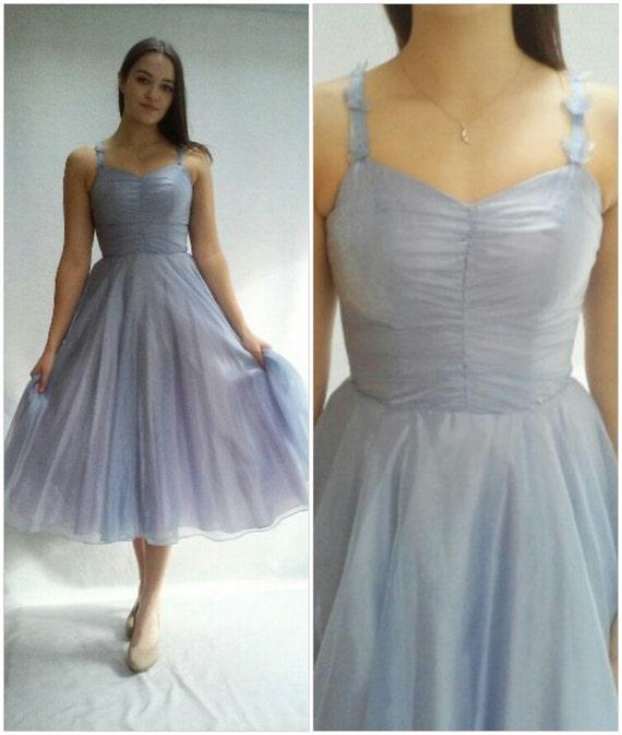 Blue TULLE Dress / Chiffon Dress / Ice Blue / 24 Waist