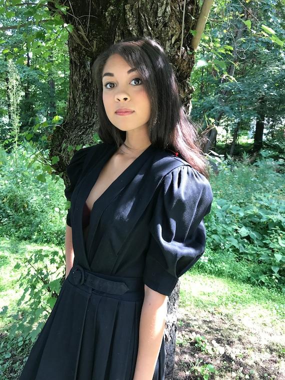 PUFF SLEEVE black dress / Cotton Poplin Black / wrap dress / s - l