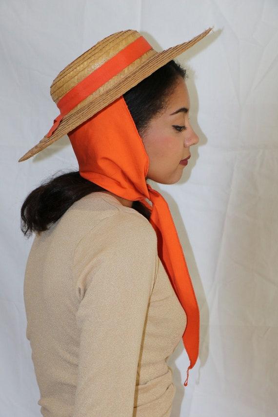 50s straw hat / orange sash