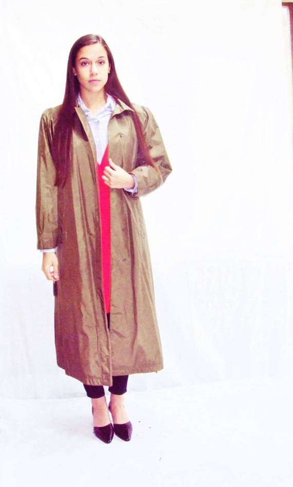 70s olive trench coat / puff sleeves / minimalist… - image 4